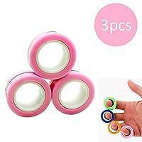 手指磁性环玩具 - 磁铁手链环耐用解锁手指环魔术环道具工具减压器旋转成人玩具 粉红色