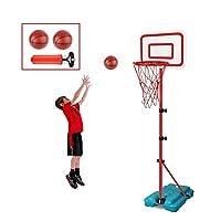 儿童篮球架套装,可调节高度3英尺-6英尺,迷你室内篮球球门玩具,带球泵,适合婴儿男孩女孩户外玩耍,适合年龄 3 4 5 6 7 8 岁
