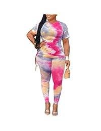 Remxi 女式 2 件套套装扎染印花短袖褶皱大码上衣紧身长裤套装运动服加大码