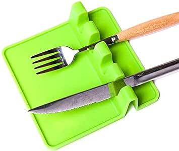 厨房 硅胶 Utensil 休息勺 夹子 多功能厨房用具 绿色