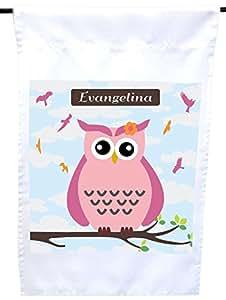 "Rikki Knight""Evangelina""名字可爱的粉色猫头鹰与个性化的名字房子或花园旗帜,30.48 x 45.72 cm 旗帜尺寸 11 x 27.94 cm 图像"