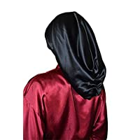 Sleep Tight Hair Wrap 围巾 * 桑蚕丝绸缎 40 姆米 25 英寸(约 63.5 厘米)超长奢华*帽 适合天然* 长
