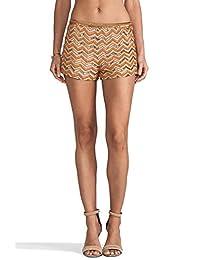 Karina Grimaldi 女士米色橘黄色串珠丝绸短裤 XS 码