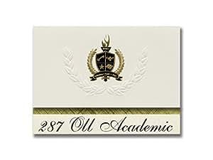 """签名公告毕业通知,总统风格,25 支精英包装,金黑色金属箔印章 287 Oll Academic (Plymouth, MN) 6.25"""" x 11.44"""" 奶油色"""