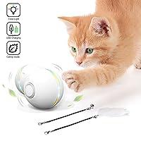 Feeko 互动猫玩具,自动 360 度滚动猫咪玩具,内置猫薄荷旋转彩色灯,USB 充电智能球,练习羽毛/铃铛猫玩具,适合室内猫小猫 白色