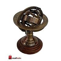 RETAILHOOKS 黄铜地球仪 * 独特 桌面装饰 古董 十二生肖 兵器 黄铜 球 地球仪 木制展示