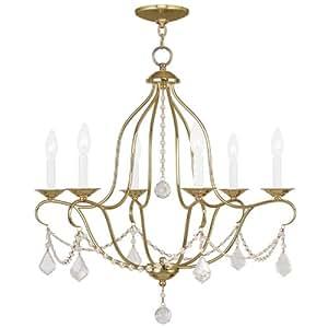 Livex Lighting 6426-02 Chesterfield 6 灯吊灯,66.04 厘米 x 2.54 厘米 x 66.04 厘米,黄铜 需配变压器