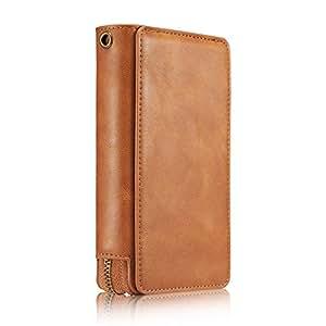苹果 iPhone Xs Max 2018 6.5 英寸钱包式手机壳,黑色 PU 皮信用卡插槽可拆卸外壳大容量手提带拉链商务保护男士女士男孩女孩保护套 棕色