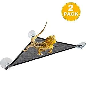 透气网状爬行动吊床,三角形悬挂网状爬行动吊床,适用于蜥蜴、壁虎。 Triangle 13'' x 13'' x 19''