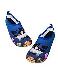 儿童水游泳鞋赤脚水袜鞋速干防滑婴儿男孩和女孩 Black Whale 12.5-13 Little Kid