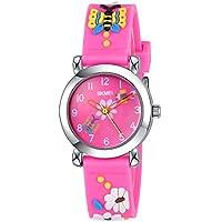 INWET Kids Time Teacher 手表 - 儿童颜色 - 玫瑰红 3D 创意表带、蝴蝶和花朵、女孩手表