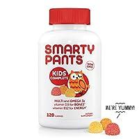 SmartyPants Complete 儿童每日维生素软糖:无麸质,含多种维生素和欧米茄3鱼油(DHA / EPA脂肪酸),补充碘,甲基B12,维生素D3,Non-GMO,120粒(30天量)