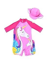 女婴连体泳衣长袖卡通褶边泳装*衣 UPF 50+ 儿童泳衣
