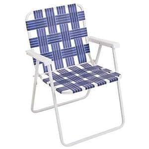 Rio Brands BY055-0138 Folding Web Chair, White Powder-Coated Steel Frame & Blue Webbing 两个