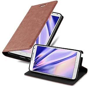 Cadorabo 手机壳适用于三星 Galaxy Note 3 书本(设计隐形封口) - 带磁扣、支架功能和卡槽 - 钱包式手机壳 Etui 盖 PU 皮DE-108095 卡布奇诺棕色
