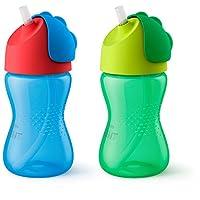 Philips 飞利浦 Avent 新安怡 My Bendy 吸管杯,10盎司(约283.49克),2pk,蓝色/绿色,SCF792 / 21