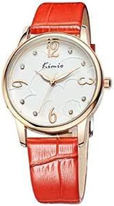 KIMIO 金米欧 石英女士手表 白色表盘红色表带 KW523M-RG0111
