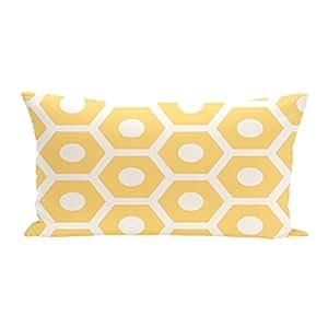 E By Design OSCGN36Lemon 几何装饰户外座椅垫,柠檬色