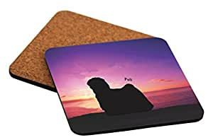 Rikki Knight Puli Dog at Sunset Design Cork Backed Hard Square Beer Coasters, 4-Inch, Brown, 2-Pack