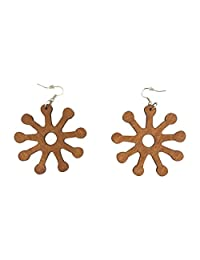 Adinkra 标志木制耳环/自然发/非洲裔美国女性耳环/木质珠宝 浅棕色