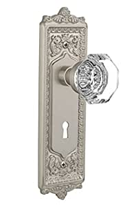 Nostalgic Warehouse Egg and Dart Plate with Waldorf Crystal Knob and Keyhole Complete Privacy Set, Satin Nickel