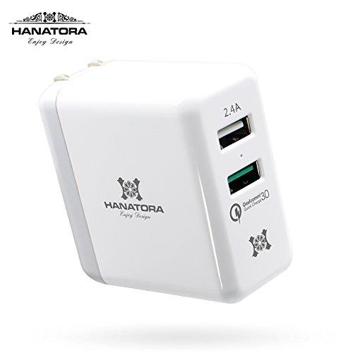 日本HANATORA花虎 双usb充电头苹果充电头插座QC3.0快充手机平板安卓通用充电头快充充电器3C认证