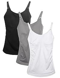 hofish 3件装孕妇无缝哺乳背心吊带有衬垫