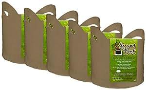 Smart Pot Wholesale Case Soft Sided Fabric Garden Plant Container Aeration Planter Pots 褐色 5 Gallon w/Handles - 50 Count