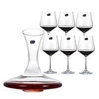 Crystalite Bohemia 波希米亚红酒酒具7件套红酒杯6只+斜口酒器1只(送6头杯架一个)40728/570+3E613(亚马逊自营商品,由供应商配送)
