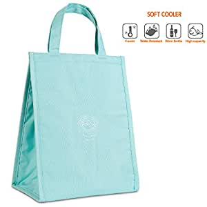 Buringer 可重复使用午餐袋面料*隔热午餐手提袋,适合女士、男、学生、工作学校和旅行 青色 Big lunchbag060