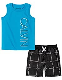 Calvin Klein 男孩 2 件套肌肉短裤套装