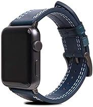 SLG Design Apple Watch 42毫米 44毫米用 表帶 真皮 意大利 Taponato 皮革 藍色 蘋果手表 皮帶 series1 series2 series3 series4 適用 SD16049A