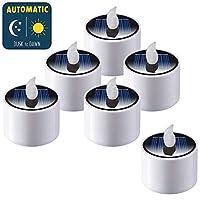 SoulBay 6 件太阳能茶灯 IP65 防水无焰闪烁可充电户外 LED 蜡烛带黄昏到黎明传感器,用于灯笼花园露营派对家居装饰