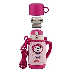 THERMOS 膳魔师 儿童 防漏不锈钢 带杯套保温吸管杯+直饮杯两用550ml 粉色(TCKA-551F PK)