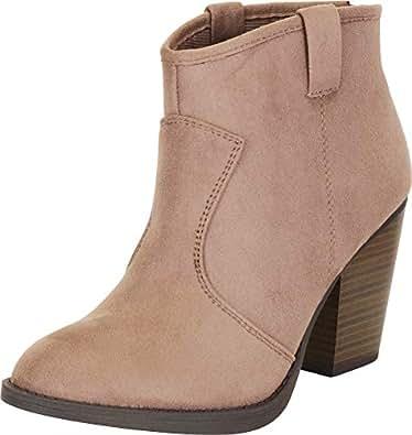Cambridge Select 女士西部乡村叠层粗跟短靴 Smoky Taupe Imsu 7 M US