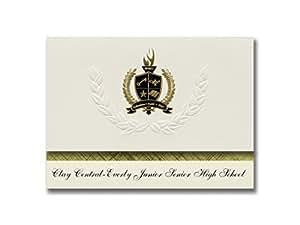 标志性公告 Clay Central-Everly 初中高中(纯粹,IA)毕业公告,25 个装金色和黑色,6.25 英寸 x 11.44 英寸,奶油色 (PAC_BASICPres_HS25_110694_206041)