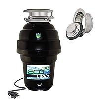 Eco Logic EL-10-DS-BK 10 设计师系列食品废弃物处理器,带黑色槽口,1-1/4 HP 抛光镀铬水槽法兰 1-1/4 Horsepower EL-10-DS-PC