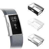 Fintie 【3 件装】与 Fitbit Charge 2 屏幕保护膜兼容,软薄 TPU 镀层手机壳*保护壳 Fitbit Charge 2 Black + Silver + Clear
