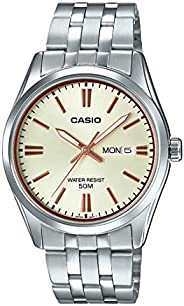 Casio 卡西欧 MTP1335D-9AV 男式不锈钢香槟表盘模拟日光表带手表