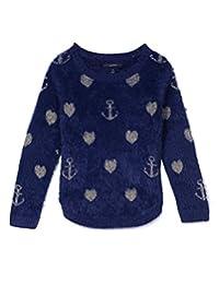 Nautica Girls' Intarsia Sweater with Furry Yarns