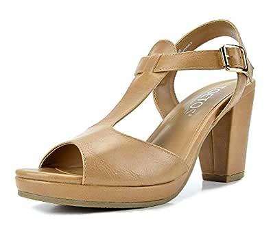 TOETOS Diane 新款女式露趾中跟厚底防水台礼服凉鞋 05-nude 6.5 M US