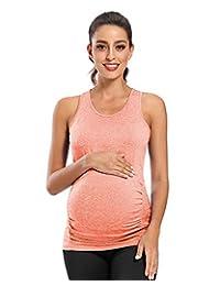 jinson 女式带褶饰孕妇纯色短袖长裙连衣裙 vestido 带高腰适用于孕期
