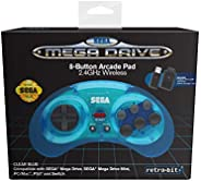 Retro-bit Official Sega Mega Drive 8-Button 2.4Ghz Wireless Arcade Pad For Mega Drive Mini Console, Sega Mega