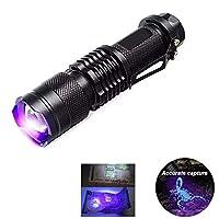 KAEHA GRHV-01 LED,紫外线手电筒,黑色手感探测灯,适用于露营、散步、急救、男女通用,黑色,均码