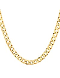 18K Solid Yellow Gold Heavyweight 4.5mm Cuban Curb Link Chain Necklace- Italian Design-18 Karat