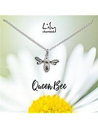 """Lily Charmed 英国设计师品牌""""蜂王""""社交女王 银色蜜蜂 手工打造 40cm 925银 女士项链 CNSBZ27"""