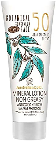 澳大利亚黄金植物*天然喷雾 SPF 30,6盎司   *   防水 Tinted Face Mineral Lotion SPF 50