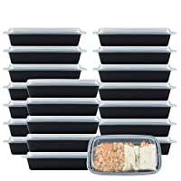 NutriBox [20 超值装] 单个 1 隔层 28盎司膳食准备塑料食品储存盒带盖,不含双酚 A 可重复使用的午餐便当盒 - 适用于微波炉、洗碗机和冰箱
