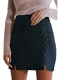lobii78lu 女式经典高腰系带紧身麂皮绒 A 字型迷你铅笔裙
