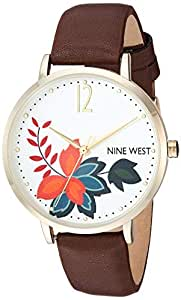 Nine West 女士 NW/2208SVBN 金色和棕色表带手表